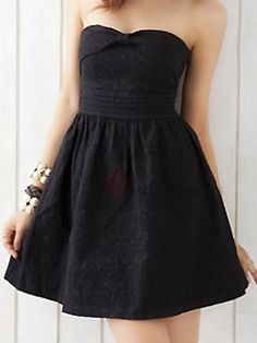 Hoe Sweetheart Neck Strapless Lace Up Back Dress Black