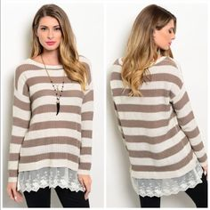 Striped Knit Sweater/Lace Hem Brown and white striped knit sweater with lace at the hem line which gives such a girly touch. Pair perfectly with leggings or jeans to stay cozy during the colder months. Size M Sweaters