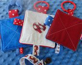 Baby Toys, Crinkle toys, red, white and blue, 4th of July, plush minkey, with pacifier clip.  Set of 3 toys and clip