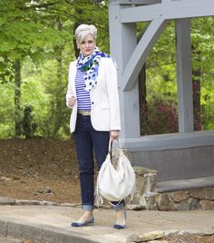 Jeans, striped t-shirt, flats and ivory blazer with scarf. Simple yet polished outfit.