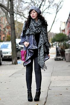 Keiko Lynn...love the oversize cheetah scarf over poncho like sweater...add jeggings and a pop of colour (bright magenta bag)...LOOOOOVEEEE