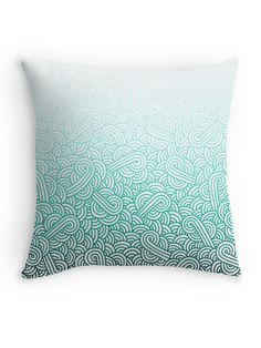 """""""Gradient turquoise blue and white swirls doodles"""" Throw Pillow by @savousepate on @redbubble #pattern #abstract #modern #graphic #geometric #blue #turquoise #mint #aquamarine #amazonite #caribbean #teal #ombre #gradient #throwpillow #homedecor"""