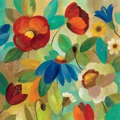 Framed Summer Floral I Print