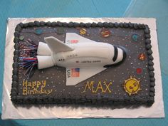 - We live near NASA in Houston, so the space shuttle is very popular. I made the shuttle out of fondant with food color markers for the flag and lettering. The planets were made out of chocolate.