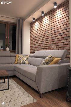 Apartment Interior, Living Room Interior, Home Living Room, Living Room Decor, Living Room Brick Wall, Brick Room, Home Room Design, Home Interior Design, Living Room Designs
