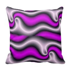 Pillow in abstract style, black, white & purple