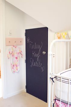 A nice alternative to an entire chalkboard wall -- a chalkboard closet door! Photo courtesy Carley Kay Photography