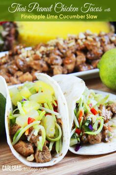 Thai Peanut Chicken Tacos with Pineapple Lime Cucumber Slaw