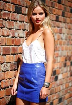 Vintage 70s Electric Blue Suede Mini Skirt with Poppers | Makes by ...