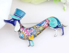 """""""Dachshund in the Hat"""" pin brooch enamel dog gift Terrumina Gifts For Your Mom, Great Gifts, Hard Enamel Pin, Hat Pins, Animal Design, Dog Gifts, Mother Day Gifts, Dog Mom, Cute Cartoon"""