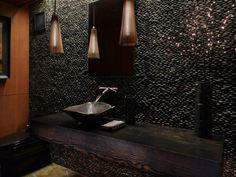 Luxus Badezimmer Deko dunkel damentoilette rustikal einrichtung