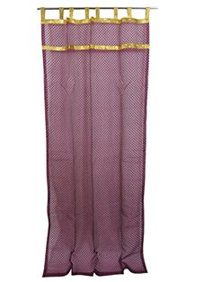 2 Indian Curtain Sheer Purple Organza Golden Sari Border Treatment , Indian sarees curtain made of sari allow light in through windows but prevent people looking in when they are drawn. Purple Curtains, Tab Top Curtains, Curtains For Sale, Drapes Curtains, Bedroom Curtains, Indian Curtains, India Home Decor, Sheer Drapes, Drapery