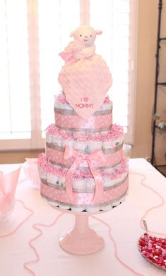 29 Super Ideas For Baby Girl Shower Ideas Pink Decorating Diaper Cakes Baby Shower Crafts, Baby Shower Decorations For Boys, Baby Shower Themes, Shower Ideas, Bebe Shower, Girl Shower, Bolo Fack, Pamper Cake, Baby Girl Cakes