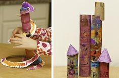 The BCW Lady says: Doll slide and castle from paper towel tubes No Monsters In My Bed recycled craft doll slide and castle