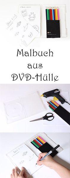 Reisespiele für Kinder - Malbuch aus DVD-Hülle selber machen