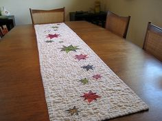 starry night table runner: quilted!