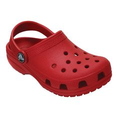 Your little girl will love wearing these Crocs Kids' Classic Clogs that feature the signature ventilated holes. These lightweight slip-on shoes have a heel strap for a secure fit and are built with Croslite™ foam cushion. Crocs Crocband, Crocs Men, Clogs Shoes, Shoe Boots, Red Crocs, Crocs Classic, Leather Slip On Shoes, Zapatos, Outfit