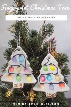What is not to like about this fingerprint Christmas tree ornament made from air drying clay? They are beautiful kids craft and festive keepsake. Crafts for kids Fingerprint Christmas Tree Ornament – Air Drying Clay Xmas Crafts, Baby Crafts, Toddler Crafts, Diy Christmas Gifts, Preschool Crafts, Christmas Holidays, Christmas Baking, Christmas Ideas With Kids, Kids Christmas Activities