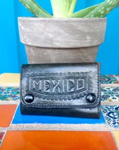 FREE SHIPPING-Vintage Hand Tooled Black Leather Key Case-Snap Pocket Envelope Style-Key Fob Case-Made in Mexico-Hand Tooled Eagle and Snake