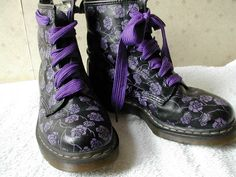 Last chance - US 10 L Floral Doctor Martens - black and purple - in UK 8 - soft leather boots. $111.00, via Etsy.