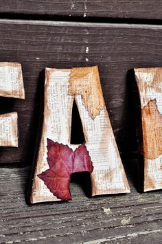 Decorate letters with Dollar tree leaves, scrapbook paper and some brown craft paint~