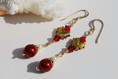 Red  Pearl Earrings 14K Gold Fill Burgundy by ornatetreasures, $25.00