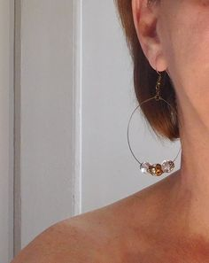 Clip On Hoop Earrings Small to Medium Antiqued Silver Tone Cut Out Design 1 Wide Vintage 80s Gift