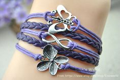 Silver infinite love of butterflies and flowers by Evanworld, $4.99 Fashion charm handmade personalized bracelet, the best gift.