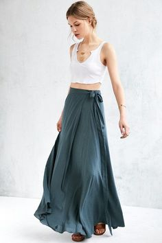 Boho Wrap Maxi Skirt - Go with the flow in Ecote's Zella Boho wrap maxi skirt. In a light, textured fabric that wraps + ties at midwaist. Tapers out at the bottom for a twirlworthy shape.