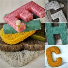 Letters omwinden met wol. Leuk om namen te maken. (Letters maken uit karton.)