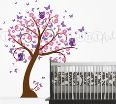 Owl and Tree Wall Decal with Butterflies and by InAnInstantArt, $85.00