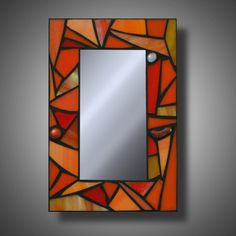 "Funky Orange Mosaic Mirror, Stained Glass Accent Mirror, 8"" x 12"""