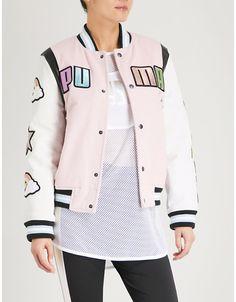 PUMA X SOPHIA WEBSTER Dreamette wool-blend and leather bomber jacket