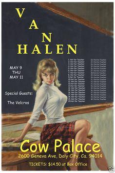 David Lee Roth Van Halen at The Cow Palace Concert Poster Circa 1984