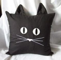Sewing Pillows This is sooooo cute! Black Cat Face Pillow Cover Embroidered Glow In Dark - Cat Crafts, Sewing Crafts, Sewing Projects, Embroidered Towels, Cat Pillow, Cushion Pillow, Cat Quilt, Sewing Pillows, How To Make Pillows