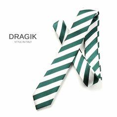 DRAGIK P5006301 woven green with white stripes pattern fashion wedding skinny tie for men gravatas