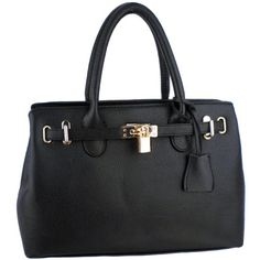 Buy Hessa Dcor Lock Double Top Handle Zippered Office Tote Bag Satchel Purse Handbag at Indiana Apparel Black Handbags, Tote Handbags, Purses And Handbags, Satchel Purse, Tote Bag, Fake Designer Bags, Black Decor, Decoration, Hessa