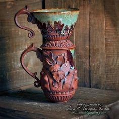 Louisiana Iris Coffee Cup and Funnel Set ( The Creole Courtyard Collection ) Ceramic Coffee Cups, Ceramic Mugs, Ceramic Art, Pottery Mugs, Ceramic Pottery, Louisiana Iris, Fired Earth, Hand Thrown Pottery, Planter Pots