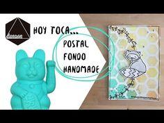 Postal con fondo handmade y sellos dunaon - YouTube
