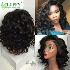 LuffyWig Loose Wave Hair Natural Color Short Wavy Full Lace Wig/Lace Front Wigs  #LuffyWig