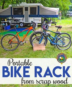 DIY Portable Bike Rack - Need a bike rack for your garage, campsite, or yard? Create this portable Bike Rack out of scrap wood. This frugal project is goes together in under an hour. Wood Bike Rack, Diy Bike Rack, Bicycle Storage, Bike Stand Diy, Bike Stands, Camping Diy, Camping Gear, Outdoor Camping, Truck Camping