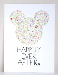 Floral Mickey Mouse  Disney  Print of an Original by BeWildandFree, $12.00