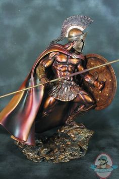Leonidas Faux Bronze 1/4 Scale Statue by Arh Studies | Man of Action Figures///I would love to have a tattoo of this on my right pec. And I want the same colors also.