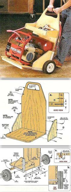 DIY Air Compressor Cart - Workshop Solutions Plans, Tips and Tricks | WoodArchivist.com #woodworkingtips