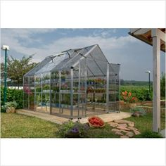 Palram Snap & Grow® 8 x 12 Greenhouse Kit, Clear walls Silver Frame offer comfort and high usability to the gardening enthusiast. Its elevated roof and split door provide easy access and convenient work space. Greenhouse Frame, Best Greenhouse, Greenhouse Plans, Greenhouse Gardening, Hydroponic Gardening, Hydroponics, Aquaponics Diy, Simple Greenhouse, Gardening Tools
