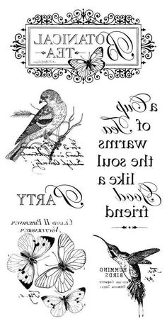 Birds and butterflies Decoupage Vintage, Decoupage Paper, Vintage Paper, Printable Labels, Printable Art, Printables, Foto Transfer, Heat Transfer, French Typography
