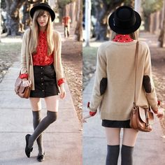 Elbow patches ♥ (by Steffy Kuncman) http://lookbook.nu/look/4328067-elbow-patches