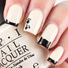 80 Winter Black and White Nail Art Designs - Nails C Manicure Nail Designs, Cute Nail Designs, Nail Manicure, Nail Polish, Cat Nail Art, Animal Nail Art, Cat Nails, Cat Art, Acrylic Nail Shapes