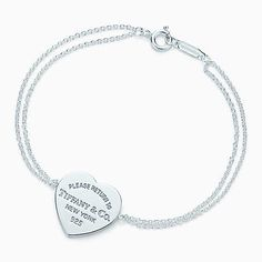 Pulsera con placa estilo corazón Return to Tiffany™ de plata fina, mediana.