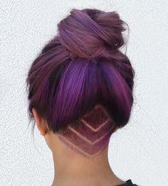 Pastel Purple Bun With Nape Undercut